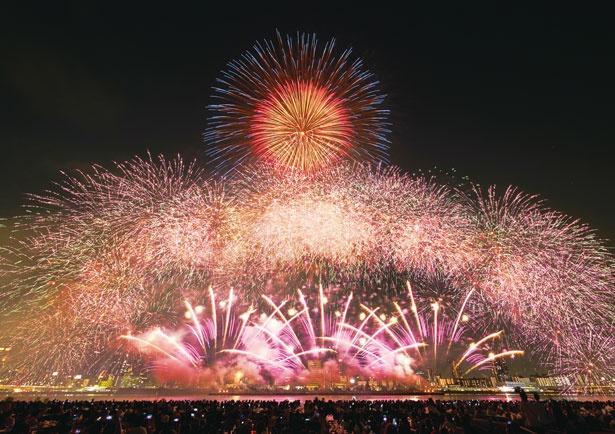 淀川上空を華やかに染める大阪らしいド派手な花火。今年は尺玉がさらに増加!/なにわ淀川花火大会