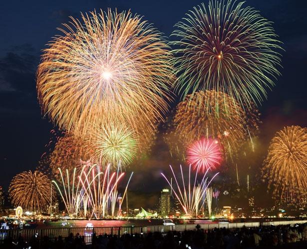 【写真を見る】神戸の夜景と花火が共演するベイエリアらしい光景/みなとこうべ海上花火大会