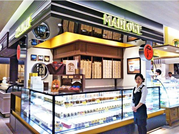 「マーロウGINZA SIX店」。ショーケースには、洒落たデザインのビーカープリンがずらり。週末は行列になることも多いので、早めの時間に訪れよう