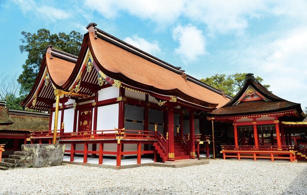 八幡大神こと応神天皇が主祭神として祀られている、国宝の「宇佐神宮」本殿。古来の様式・八幡造りを施した本殿は、現存する建造物としては貴重だ