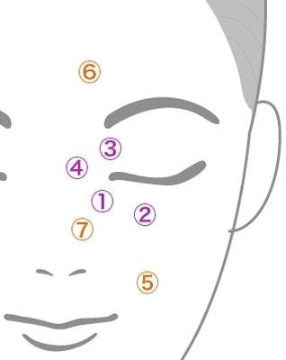 顔の血液の量と流れる速度を測った部分はこの7点。