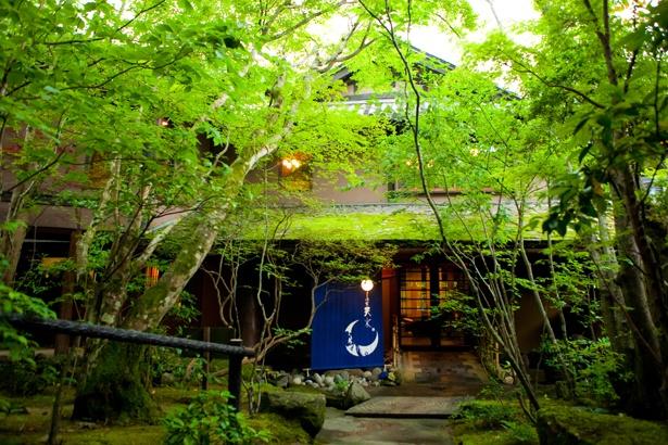 木々に囲まれた山間にひっそりと建つ天瀬温泉の旅館