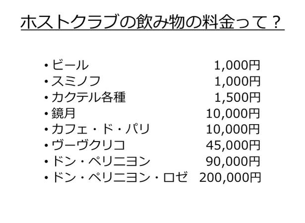 ビール1000円!よく聞くドンペリは9万円から!高い!当然これ以上のお酒もあります