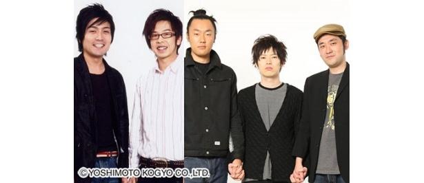舞台「BENKEI」の中心メンバーであるラフコントロールの重岡謙作、森木俊介とグランジの五明拓弥、遠山大輔、佐藤大(写真左より)