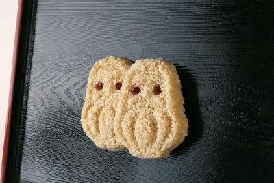 おこし米を使いだるま型で抜いたカワイイ手作り菓子!「だるまおこし」6個入り(420円)