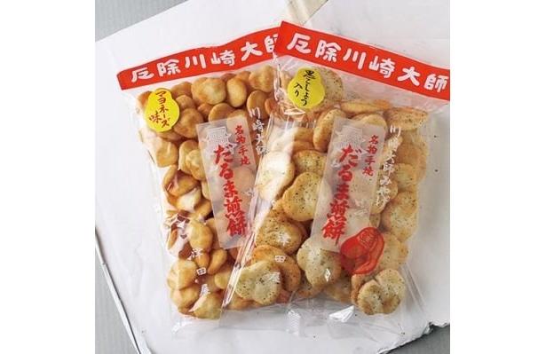 5cmの福だるまと3cmの小だるまは各1袋350円!スナック感覚の軽い食感