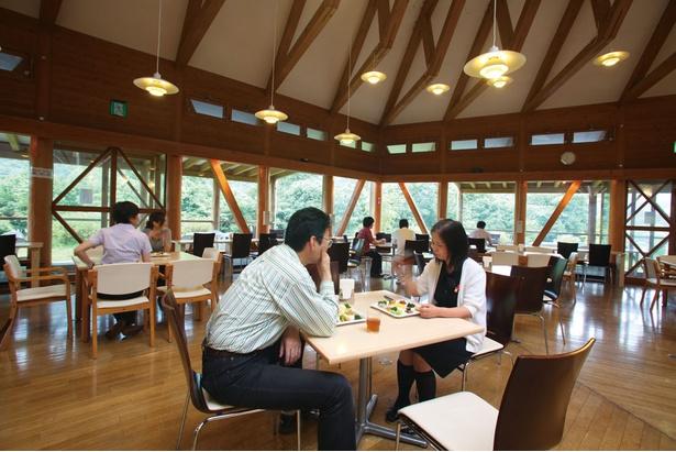 木の温もり溢れるレストランホール。川のせせらぎをBGMに食事を楽しんで