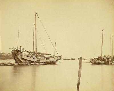 内田九一が撮影した「築池佃島前 弁財船」