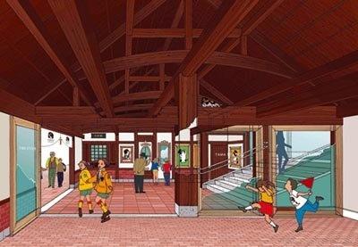 駅舎内は木や石、レンガを使っている