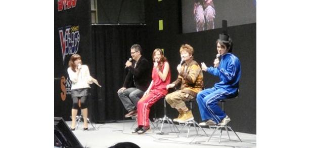 イベントに登場した大地丙太郎監督、名塚佳織、うえだゆうじ、前田剛(写真左から)