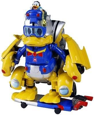 ロボットモードの「トランスフォーマー ディズニーレーベル ドナルドダック ホリデービークル」。胸部にはドナルドの顔をモチーフにしたマークが入り、頭部にはドナルドが乗っている