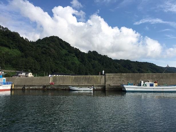 観光遊覧船が出港する桑川港。堤防の上で父子が釣りをしていたりして、ノンビリムード