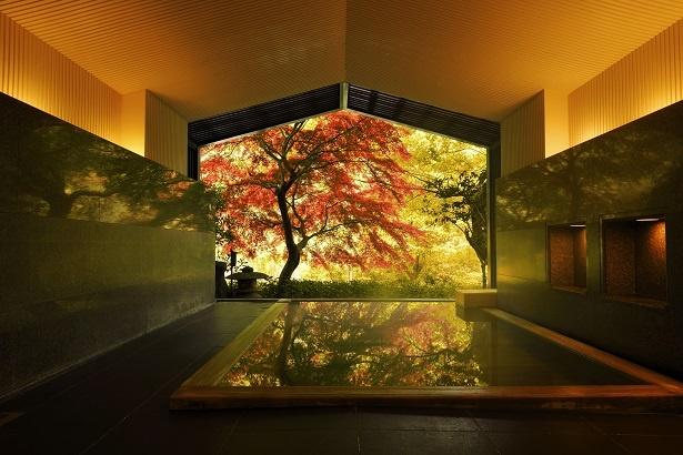 星野リゾート 界 箱根の半露天風呂。あでやかな紅葉を眺めながら、そよぐ風を感じよう