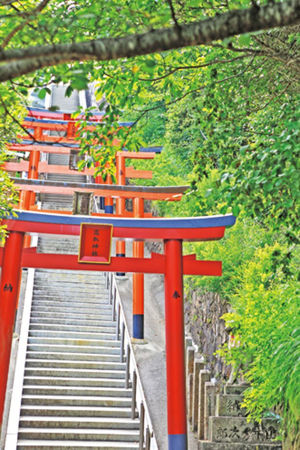参道の山道を進むと朱色の鳥居がお迎え/高取神社