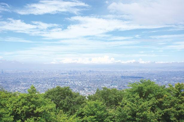 【写真を見る】日本一の高さを誇るあべのハルカスや、明石海峡大橋まで眺められ、まるでジオラマのよう/生駒山上遊園地