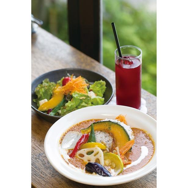 【写真を見る】サラダとドリンク付き!季節の野菜がたっぷりのった「カレー」(1296円)