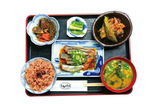 玄米ご飯と味噌汁に、魚料理など、日替わりおかず4品がついた「玄米膳」(1050円)