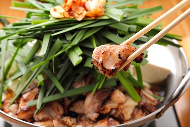 【写真を見る】「炙りもつ鍋」(1人前1490円)。ちゃんぽん麺や一品料理がつくお得なセットメニューもある(1人前3000円~)
