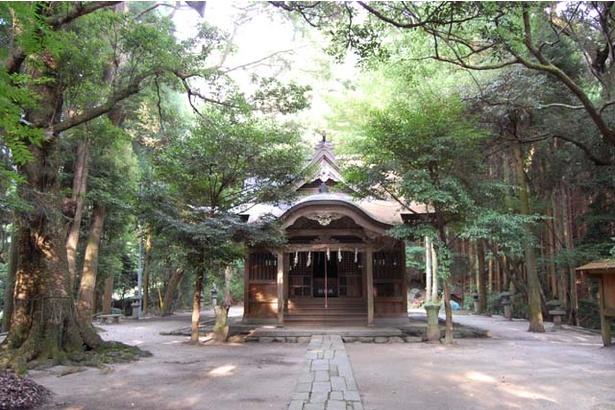 「垂裕神社」へは、黒門から続く石段を登っていく。秋月藩祖・長興公らを奉祀