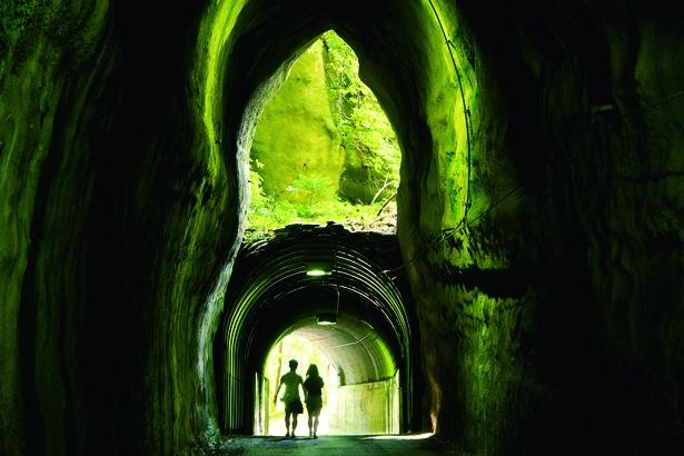 養老渓谷駅から徒歩約30分の共栄/向山トンネル。2つのトンネルが中ほどで重なり、不思議な光景