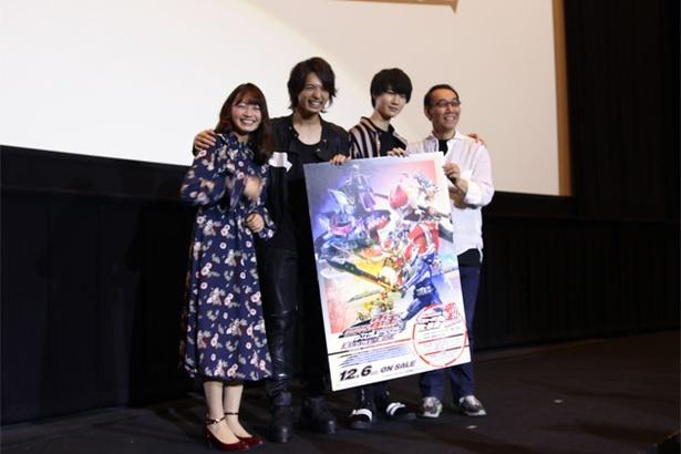 トークショーに駆け付けた(左から)松元環季、中村優一、桜田通、金田治監督