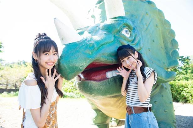 「恐竜だよ!がおー」(井上)「きゃー!食べられちゃう!?」(野村)