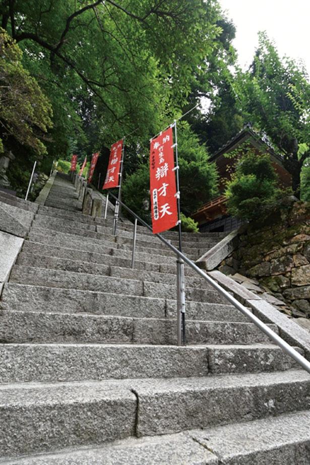 階段の途中で振り向くと後ろには雄大な琵琶湖の景色が広がる/竹生島