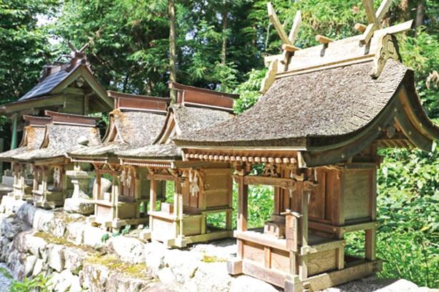 天照大御神を祀る、東神社の近くにも小さな社が並ぶ/高鴨神社