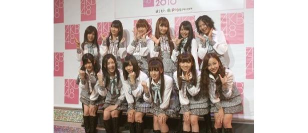 コンサートの公開リハーサルと新曲「桜の栞」の初披露を行ったAKB48