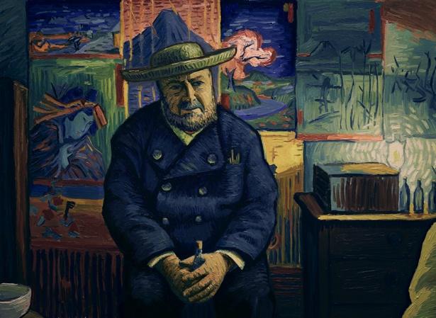 ゴッホやテオのことを知る画材商を営むダンギー爺さん。背景には日本の浮世絵も確認できる