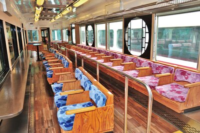 ピンク色の座席は一段高い位置に設置/南海鉄道高野線 こうや花鉄道 天空