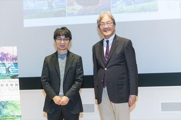 9月の内覧会に登壇した新海誠監督(左)と国立新美術館の青木保館長(右)