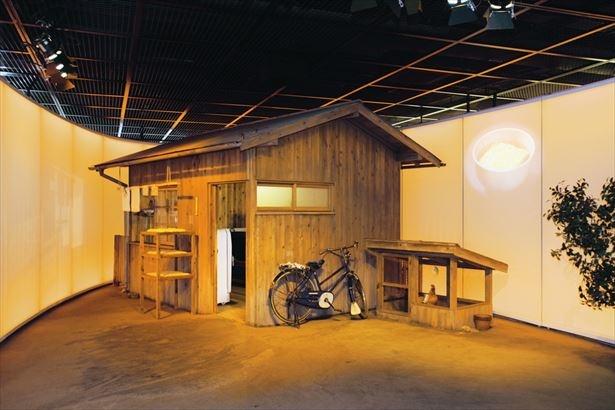 1950年代当時の研究小屋イメージ。これをもとにチキンラーメン屋台は作られた。