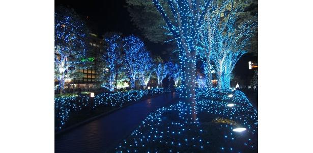 新宿サザンテラスの一面ブルーな散歩道
