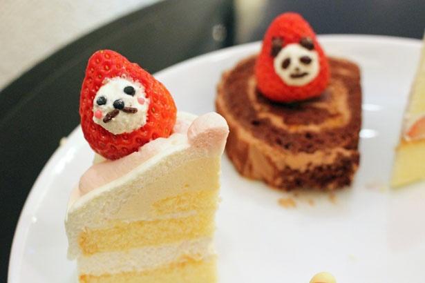 試食用のケーキにトッピングしてみた。不思議と愛着が湧いてくる