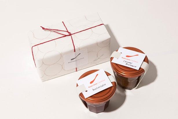 Maison romi-unieのジャム。「いちごとフランボワーズのアニヴェルセール」(700円)と「発酵バターと仏ゲランドの塩で仕上げたキャラメル・ブルターニュ」(790円)