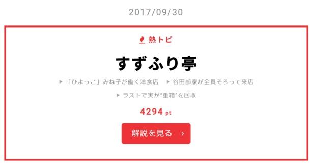 """9月30日の""""視聴熱""""デイリーランキング 熱トピでは「すずふり亭」をピックアップ"""