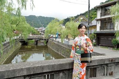 しだれ柳に石造りの太鼓橋/城崎温泉