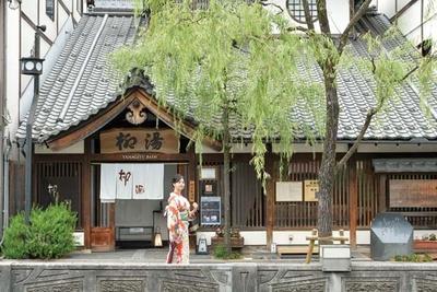 柳が揺れる湯殿は、温泉街の雰囲気と見事に調和/柳湯