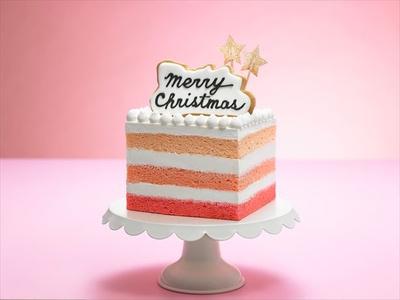 ピンクのグラデーションが目を引く「タンデコロリ」の「Happy Merry Christmas!」