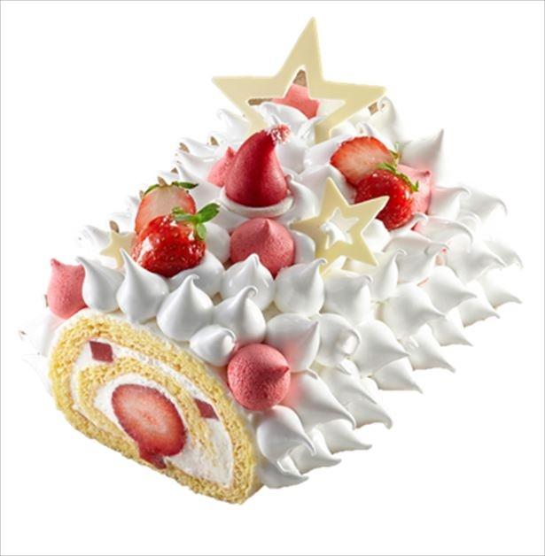 いちごのショートケーキをブッシュ・ド・ノエルにアレンジした「ドミニクアンセルベーカリー」の「フレッシュストロベリーブッシュ」