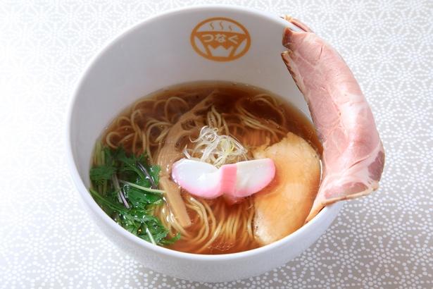 4種の醤油がメインのタレにもエビやアサリを使うなど、細かな技が光る「今も昔も中華そば」(750円)/麺物語 つなぐ