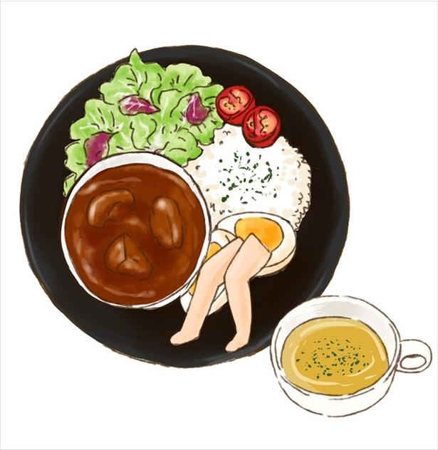 ふともも写真カフェ公式カレープレート※スープ付(¥1,000)