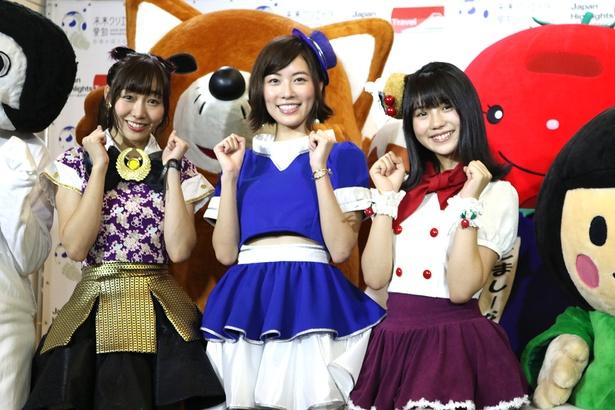 (写真左から)SKE48の須田亜香里、松井珠理奈、小畑優奈が「愛知デスティネーションキャンペーン2018」のプレイベントに登壇した