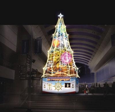 クイーンズスクエア横浜、ことしのイメージ。昨年の点灯式を見学しましたが、歌&七色イルミで、楽しい気分に!