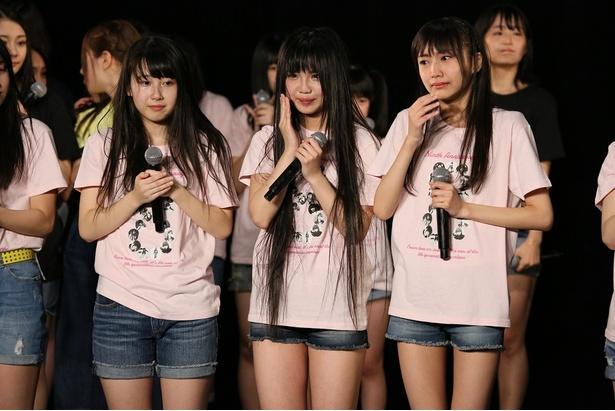 SKE48劇場デビュー9周年特別公演。チームSへの昇格が決定した井上瑠夏、北川愛乃、野村実代(写真左から)