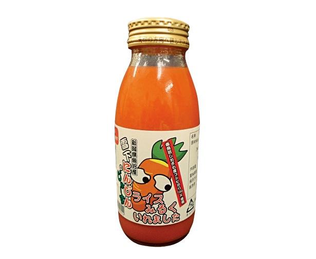 南魚沼市塩沢産コシヒカリのライスミルクが入った「雪下にんじんのじゅーす(ライスみるく入り)」(330円、200ml)