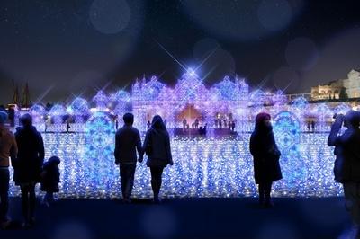 【写真を見る】水上イルミネーション「青の宮殿」