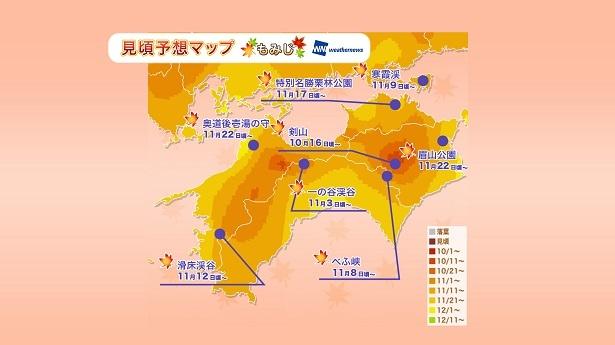 高知県のべふ峡は11月中旬から見頃となる予想