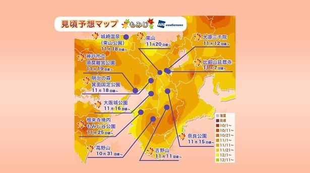 滋賀県の比叡山延暦寺や和歌山県の高野山は10月下旬から11月頭、京都府の嵐山や奈良県の奈良公園は11月中旬から見頃となる予想